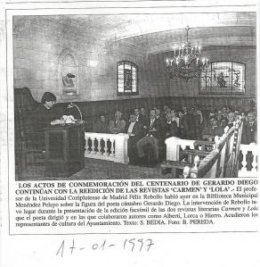 Conferencia en la Biblioteca Menéndez Pelayo de Santander